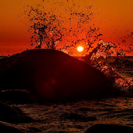 Moby Dick by Sondre Gunleiksrud - Landscapes Sunsets & Sunrises ( waterscape, sunset, summer, norway, water splash,  )