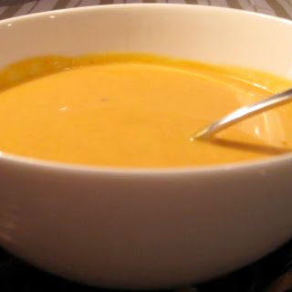 Spiced Pumpkin Bisque with Pumpernickel Soldiers