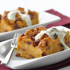 Pumpkin Bread Pudding with Brown Sugar-Yogurt Sauce