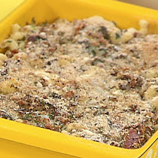 Spinach and Hot Ham Fake-Baked Pasta with a Crispy Top