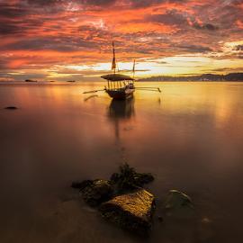 Anchor by Ade Noverzan - Transportation Boats ( sunset, beach, boat, stones, dusk, anchor )