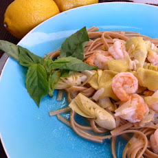 Lemony Shrimp with Artichoke on Multi Grain Linguine= Serves 4