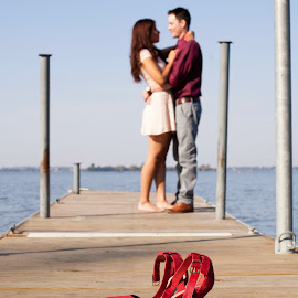 red engagement by Heather Grossnickle Nyren - People Couples ( shoes, love, red, lake, engagement )