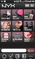 Screenshot of NYX Cosmetics Mobile