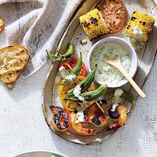 Grilled Shrimp and Summer Vegetables with Buttermilk Dressing