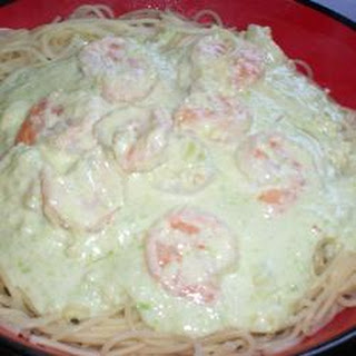 Shrimp in Avocado Cream Sauce