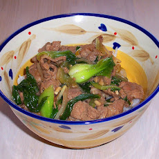 Stir Fried Pork With Bok Choy and Noodles