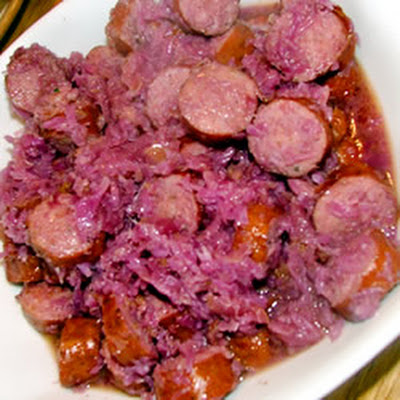 Sausage Smothered in Red Cabbage