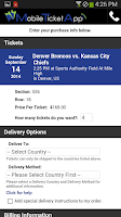 Screenshot of Mobile Ticket App - Tickets