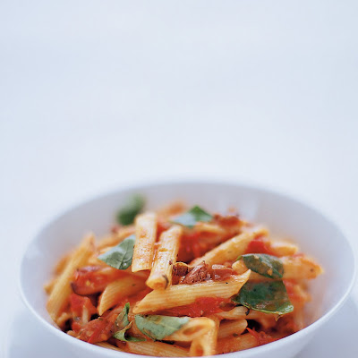 Penne With Tomato, Basil, Olives & Pecorino