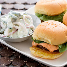 Lamb & Beef Sliders with Harissa-Labneh Sauce & Cucumber Salad