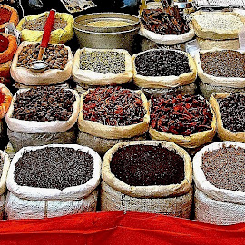 GRAIN & SPICES by Doug Hilson - City,  Street & Park  Markets & Shops ( pigments, grain, india, display, street market, spices )