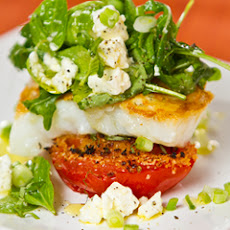 Skillet White Fish With Arugula, Green Onion & Basil Salad