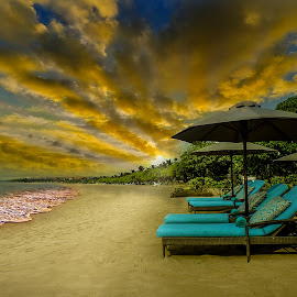 Marriott Courtyard's Private Beach Bali by Ade Irgha - Artistic Objects Furniture ( holiday, explore bali, airimagebali.com, sunset, beach )