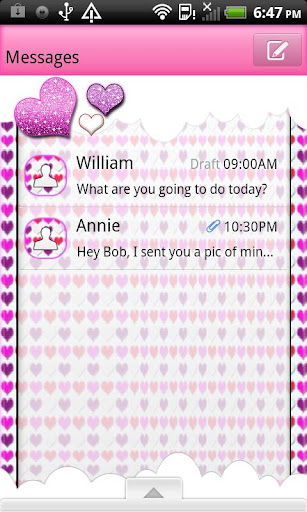 GO SMS THEME HeartsNClouds4U