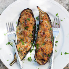 Eggplants Stuffed With Pork, Vegetables And Spices