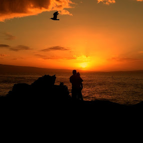 sunset love by Jackson Visser - People Couples ( love, sunset, ocean, couple, beach,  )
