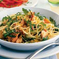 Spaghetti With Hot-smoked Salmon, Rocket & Capers