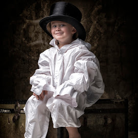 The waiting game by Jan Kraft - Babies & Children Child Portraits ( vintage shirt clothing big hat room large )