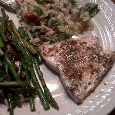 Barbecued Italian-style Salmon Steaks