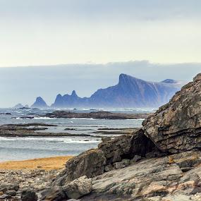 Rocks, sea and hills by Benny Høynes - Landscapes Mountains & Hills ( hills, mountain, sea, rocks )