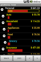 Screenshot of gbaMoney Money Tracking
