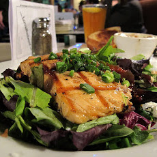 Grilled Salmon Salad With Vegetable and Balsamic Dressing