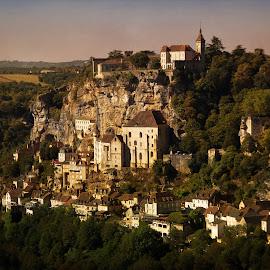 Late Afternoon by Gaby Halperin - Landscapes Travel ( village, sunset, rocher, twilight, rock, landscape, medieval, city )