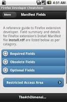 Screenshot of Firefox Developer Cheatsheet