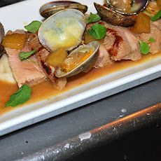 Roasted Pork Tenderloin With Clams And Butter Bean Puree