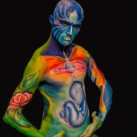 Blue Man by Tatjana GR0B - People Body Art/Tattoos ( person, people, tattoo )