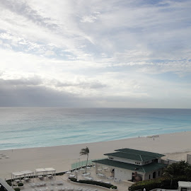 Cancun, Mexico by Lori Rider - Landscapes Beaches ( cancun, water, clouds, mexico, beach, light, sun, rays )