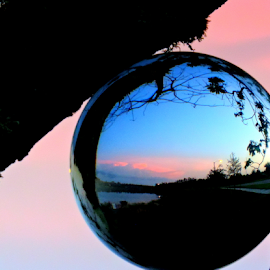 Evening Glow by Elfie Back - Artistic Objects Glass ( sunset, evening glow, sphere, pink, globe )