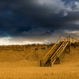 Stairs to Eternity by Kapileshwar Punna - Landscapes Beaches ( sand, stairs, sunset, eternity, cloudy, cloud, beach, dusk, rain )