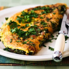 Red Kale and Cheese Omelette for Two