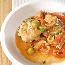 Chicken-Leg Cacciatore with Sweet Peppers, Fennel, and Green Olives