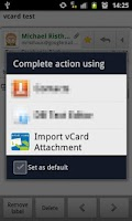 Screenshot of Import vCard Attachment DEMO
