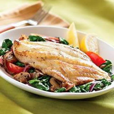 Pan Seared Sea Bass with Warm Spinach Salad