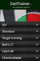 Screenshot of DartTrainer app