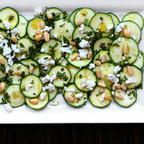 Zucchini Carpaccio with Feta and Pine Nuts