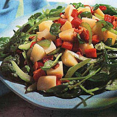 Potato, Spinach and Red Bell Pepper Salad with Warm Bacon Vinaigrette