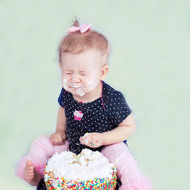 Suger rush by Jenny Hammer - Babies & Children Babies ( cute face, birthday, girl, smash the cake, baby )