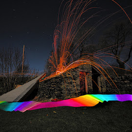 It's blown the bloody roof off! by Mark Airey - Abstract Light Painting ( roof, wind, storm damage, light painting, night photography, steel wool, ribbon, d7000, long exposure, sparks, nikon,  )