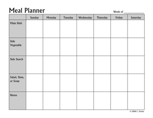 Printables Meal Planner Worksheet pennies and pounds templates for meal planning structured planner this template resembles my spreadsheet system it offers space a weeks worth of meals with rows for