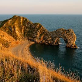 Durdle Door by Karen Phillips - Landscapes Beaches ( water, sunset, sea, beach, rocks )