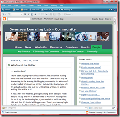 The Windows Live Writer in action. Web View for the Leaning Lab Community Blog.