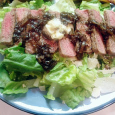 Steak With Parmesan Butter, Balsamic Glaze, and Arugula