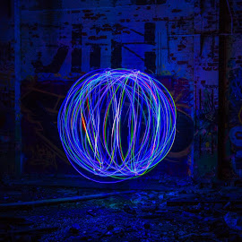 Light Orb by Simon Sweetman - Abstract Light Painting ( colour, ball, orb, blue, color, painting, light )