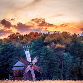 Warm autumn evening by Florin Ihora - City,  Street & Park  City Parks ( village, park, romania, museum, sibiu, windmill )