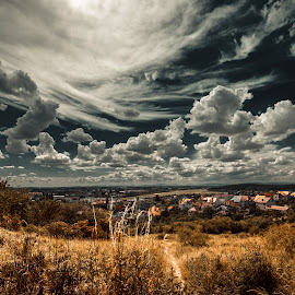 The first signs of autumn by Cornelia Pavlyshyn - Landscapes Cloud Formations ( clouds, sky, autumn, landscape, sun )